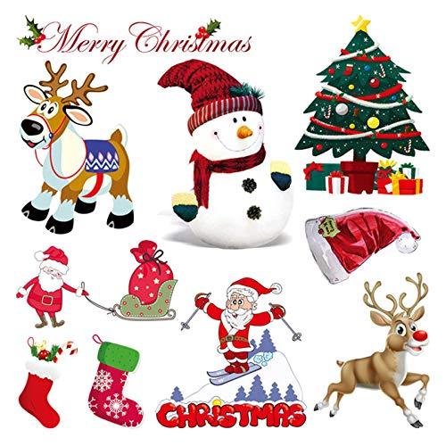 Wärmetransfer-Applikationen zum Aufbügeln für T-Shirts, Jeans, Kissen, Rucksäcke, Kleidung, Wärmetransfer-Sticker mit Weihnachtsmann, Schneemann, Elch Bäumen