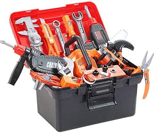 43 stukken speelgoed hulpmiddelen, kinderen tool set, boor en draagtas toolbox te doen, bij het afspelen van speelgoed voor 3 4 5 6 7-jarige jongen van de peuter