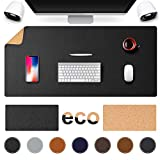 TESOBI Large Natural Cork & Leather Desk Pad, 36' x 17' Double-Sided Desk Protector, Smooth Surface Mouse Pad, Waterproof Desk Mat for Office/Home/Gaming (36' x 17' Black)