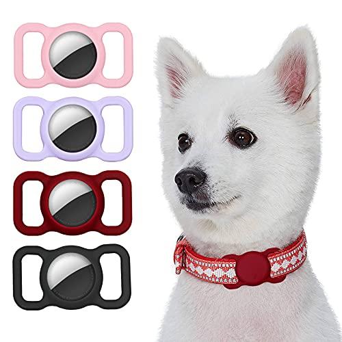 Kiewhay Caso Compatible con Apple AirTag Funda, [4 Piezas] Silicona Carcasa para Localizador Antipérdida, Soporte de Seguimiento GPS para Collar de Mascotas/Perro/Gato y Bolsas de Niños/Ancian