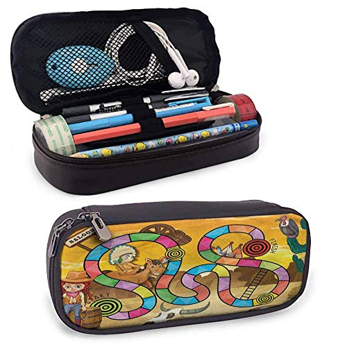 IOPLK Estuche para lápices de viaje para juegos de mesa, diseño de vaquera con temática salvaje oeste, impermeable, sin polvo, 8 x 3.5 x 1.5 pies