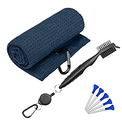 "KakuFunny Golf Towel with Microfiber Waffle Pattern (24"" X 16""), Golf Brush Tool Kit and Club Groove Cleaner Brush,Golf Accessories 3-1/4 inch Golf Tees Pack of 5,3 in 1 Golf Cleaning Kit (Navy Blue)"