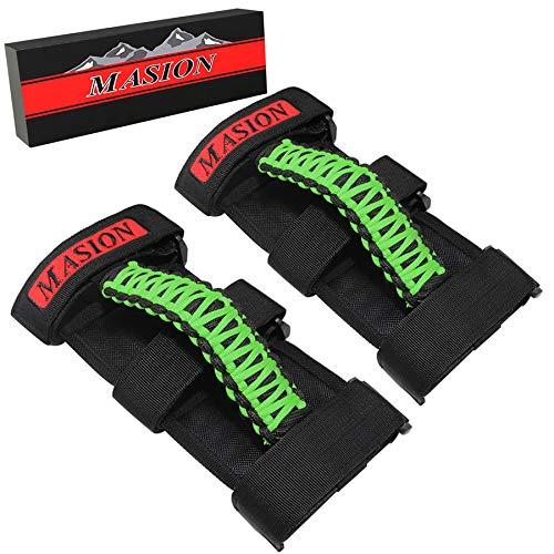 MASION Paracord Roll Bar Grab Grip maniglie 3 cinghie maniglie adatto per 2 a 7,6 cm Roll Bar per Jeep Wrangler TJ CJ YJ JK JKU JL JLU Sport Willys Sahara Rubicon 1986-2020 Montaggio UTV ATV Maniglie