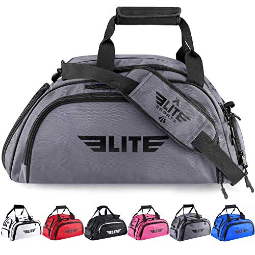Elite Sports Boxing Gym Duffle Bag for MMA, BJJ, Jiu Jitsu Gear, Duffel Athletic Gym Backpack with Shoes Compartment (Grey,Large)
