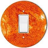 Rikki Knight RND-LSPROCK-184 Planet Sun Round Single Rocker Light Switch Plate