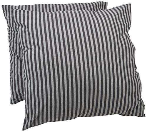 Amazon Basics - Kissenbezüge, Jersey, 2er-Pack, gestreift, 80 x 80 cm, Dunkelgrau