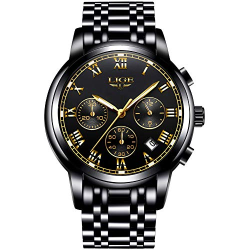 LIGE Mens Watches Sports Dress Analog Quartz Watch Gents Fashion Business Full Steel Waterproof Chronograph Watch Man with Date Calendar Gold Black Wristwatch