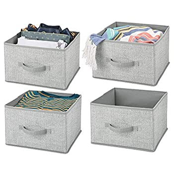 mDesign Soft Fabric Closet Storage Organizer Holder Cube Bin Box Open Top Front Handle for Closet Bedroom Bathroom Entryway Office - Textured Print 4 Pack - Gray