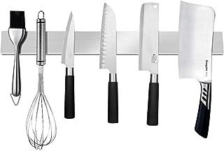 JUNSHUO Universal Barra Magnética para Cuchillos, 40 cm Soporte para Cuchillos de Acero Inoxidable, Fácil Montaje, para Guardar Cuchillos de Cocina/Utensilios de Metal