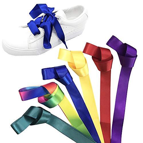 Jurxy 6 Paar Satin Flache Schnürsenkel Seidenband Flacher Shoestring 1.2M für Sportschuhe, Laufschuhe, Bergschuh, Outdoorschuh Lila/Gelb/Rot/Dunkelgrün/Saphir/Regenbogen
