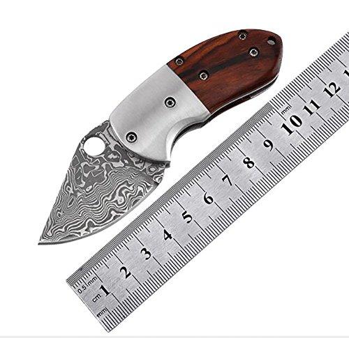 Ideaselection Randonnée Couteau de Poche Pliant Multi Outil à Main Outdoor Couteau de Chasse Damas avec Couteau de Camping Multi Outils à Main Couteau EDC Pocket Knife Équipement de Plein air