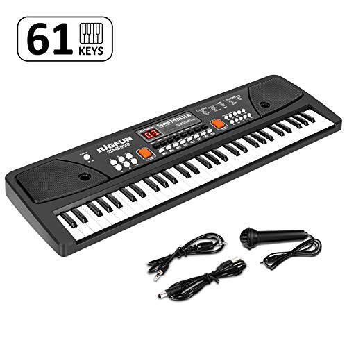 M SANMERSEN Kids Piano, Keyboard Piano 61 Keys Pianos Keyboards with LED Display Microphone Dual Speakers AUX-in Jack Musical Instrument Music Book Bracket Piano Toys for 3-12 Years Old Boys Girls