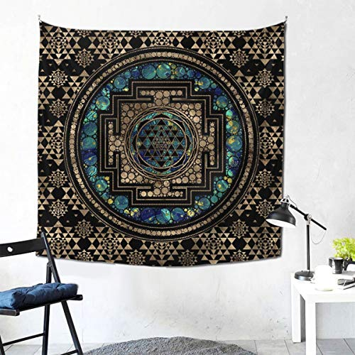 NO2BB Wall Hanging Sri Yantra - Sri Chakra Marble and Gold Tapestry,PrettyTapestry for Living Room Bedroom Decor 59 X 59 Inch