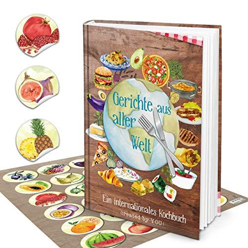 Logbuch-uitgeverij set XXL receptenboek om zelf te schrijven, DIN A4, Duitse versie uit alle wereld + 24 stickers fruit aquarel kookboek leeg voor eigen recepten cadeau DIY internationaal
