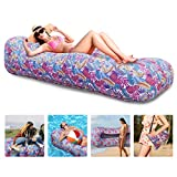Myuilor Lounger Chair Air Sofa Couch Inflatable Hammock Ergonomic Beach Bed Waterproof Anti-Air Leaking for Camping Hiking Travel Beach Picnic Lakeside, No Pump Required (Purple)
