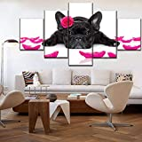 OUPDJ 5 Continuous Painting Canvas Printed Modular Picture Decor Wall Art 5 Panel Animal French Bulldog and Petal Poster Modern Home Decor Artwork