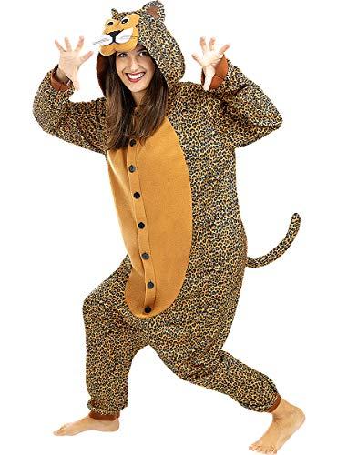 Funidelia | Disfraz de Leopardo Onesie para Hombre y Mujer Talla M ▶ Animales, Desierto, Selva - Color: Marrón - Divertidos Disfraces y complementos para Carnaval y Halloween