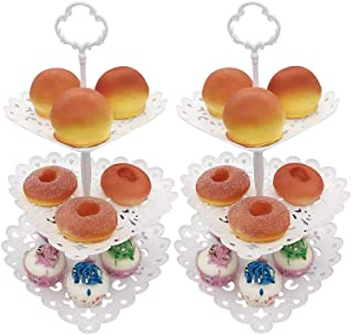 Set of 2 3-Tier Dessert Stand Heart Shaped White Cupcake Fruits Holder for Wedding Birthday Party Fruits Desserts Candy Bar Display