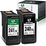 Economink Remanufactured Ink Cartridge Replacement for Canon 240 XL 241 XL PG-240XL CL-241XL Black Color for Pixma MG3620 MG3600 TS5120 MG3520 MG3222 MG3220 MX432 MG3122 MG2120 MX452 MG2220 MG3120