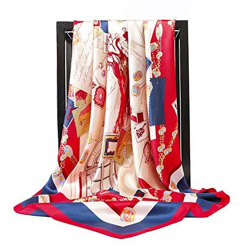 hjkg Bufanda De Seda Bufanda De Diseño Elegante Suave Cómodo Simple Multifunción Avanzado Regalo De Playa Protección Solar Todas Las Estaciones Rojo Bolsa De Costura Patrón Bufanda Mujer Niña Dama M