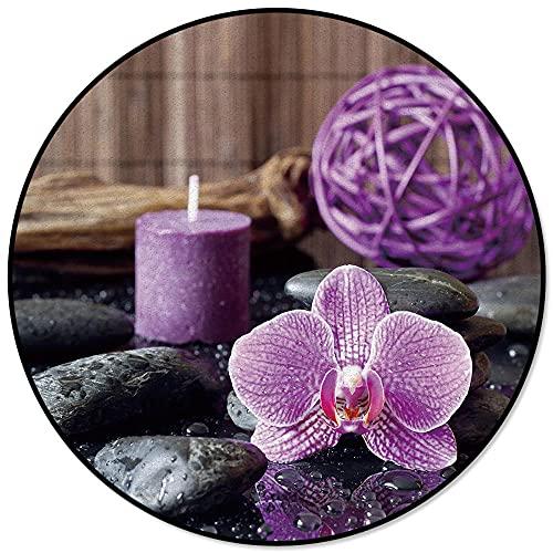 Zen Stein Lila Orchidee Ruhige Kerze Runder Teppich Stuhl Bodenmatte Weiche Teppiche Für Wohnzimmer Anti-Rutsch-Teppich...