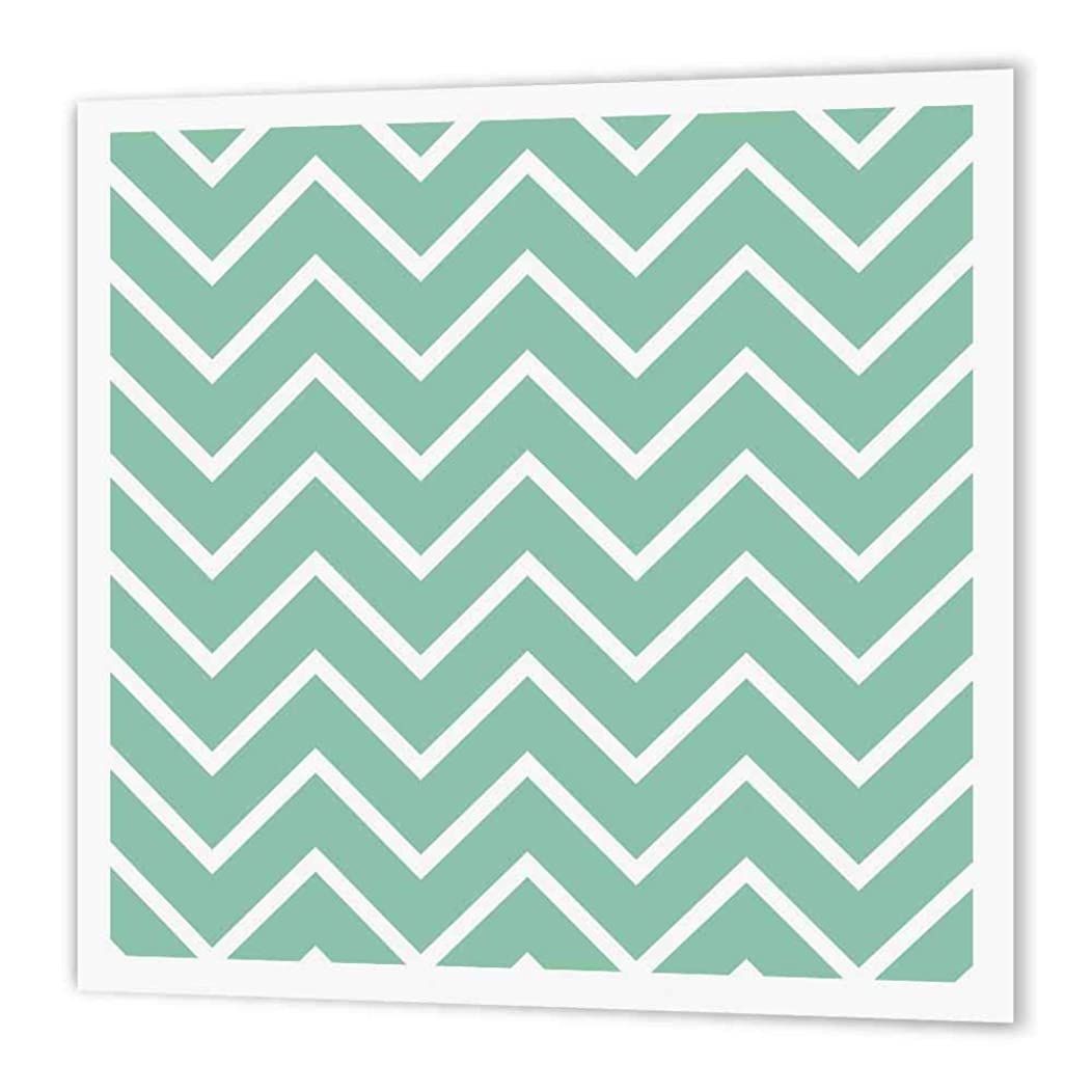 3dRose ht_164667_1 Chic Girly Mint & White Zigzag Chevron Iron on Heat Transfer Paper for White Material, 8 by 8