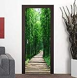 Mural de Pegatinas de Puerta, Adhesivo Creativo para Puerta, decoración del hogar, Papel Tapiz Autoadhesivo, Bosque de bambú, Camino pequeño, Puerta de Dormitorio, renovación, Mural fotográfico 3D