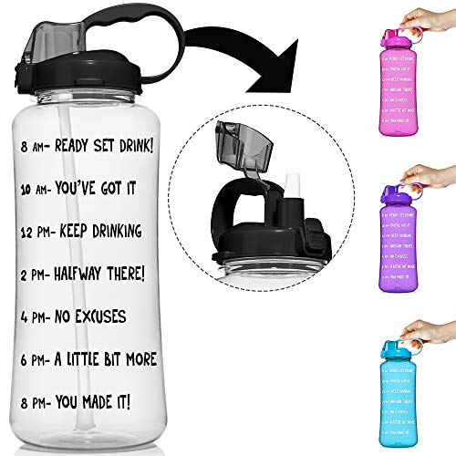 HydroMATE 3L & 1.5L Straw Motivational Water Bottle Time Marker Large BPA Free Jug Handle Time Marked Drink Marking Measures Track Daily Water Intake Hydro MATE 128 oz 64 oz (1.5 Liter, Clear)