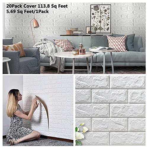 Arthome 3D Faux Brick Wall Panels 20Pack Cover 113 Sq.ft Peel and Stick Self-Adhesive Wallpaper Foam Tile Decor for Living Room Bedroom Background Wall Decoration (White 20Pack)