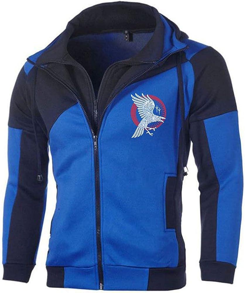 Viking Raven Men Printing Jackets Sweatshirt Fleece Cotton Zipper Male Clothing Hoodies Jacket