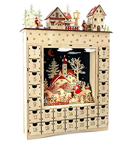 "small foot Holz ""Wintertraum"" Adventskalender, Natur, 34 x 7.5 x 52 cm"