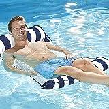 7WUNDERBAR Inflable Hamaca de Agua colchón de Aire Hamaca colchones Piscina Plegable Cama Flotante sofá de Agua Piscina salón colchón de baño Cama Flotante para Adultos (Azul Oscuro)