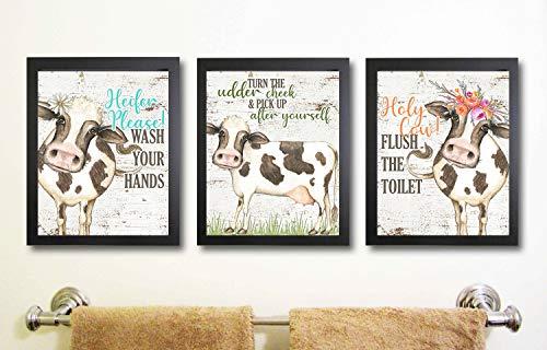 I Will Love You Till The Cows Come Home Art Print Watercolor Design Wall Decor Set (Bathroom Prints)