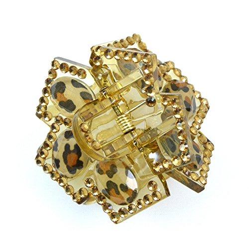 rougecaramel - Accessoires cheveux - Pince crabe cheveux acrylique et strass taille 5.5cm - doré