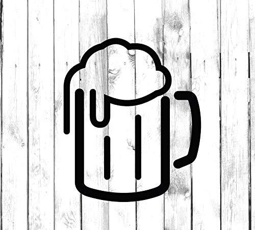 Calcomanía de vinilo con diseño de taza de cerveza de neón – Di Cut – Calcomanía para el hogar, el ordenador portátil, el ordenador, el camión y el parachoques del coche