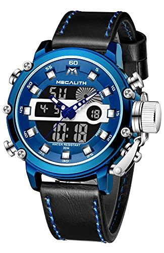 MEGALITH Relojes Hombre Digitales Militar Relojes Grandes LED Reloj de Pulsera Analogico Digital Deportivo Relojes de Hombre Cuero Impermeable Electrónico Cronometro Calendario - Azul Negro