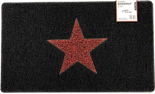 Nicoman STAR Door Mat|Entrance Barrier Dirt-Trapper Floor Mat|Patio Garden Conservatory Doormat|Indoor Outdoor Matt|Black with Red Star,75x44cm (29.5x17.3inches)