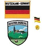 A-ONE Andechs Klosterschild + Deutschland-Flagge + Deutschland-Flaggen-Abzeichen, Stoffdekoration für Taschen & Metall-Anstecknadel, 3 Stück