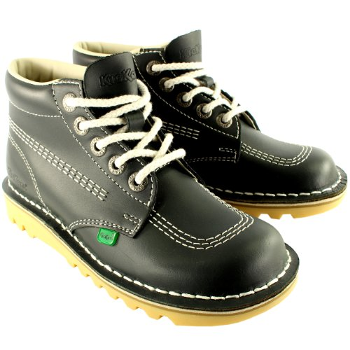 Kickers Womens Kick Hi Classic Leather Office Work Ankle Boots Shoes - Navy - 10.5
