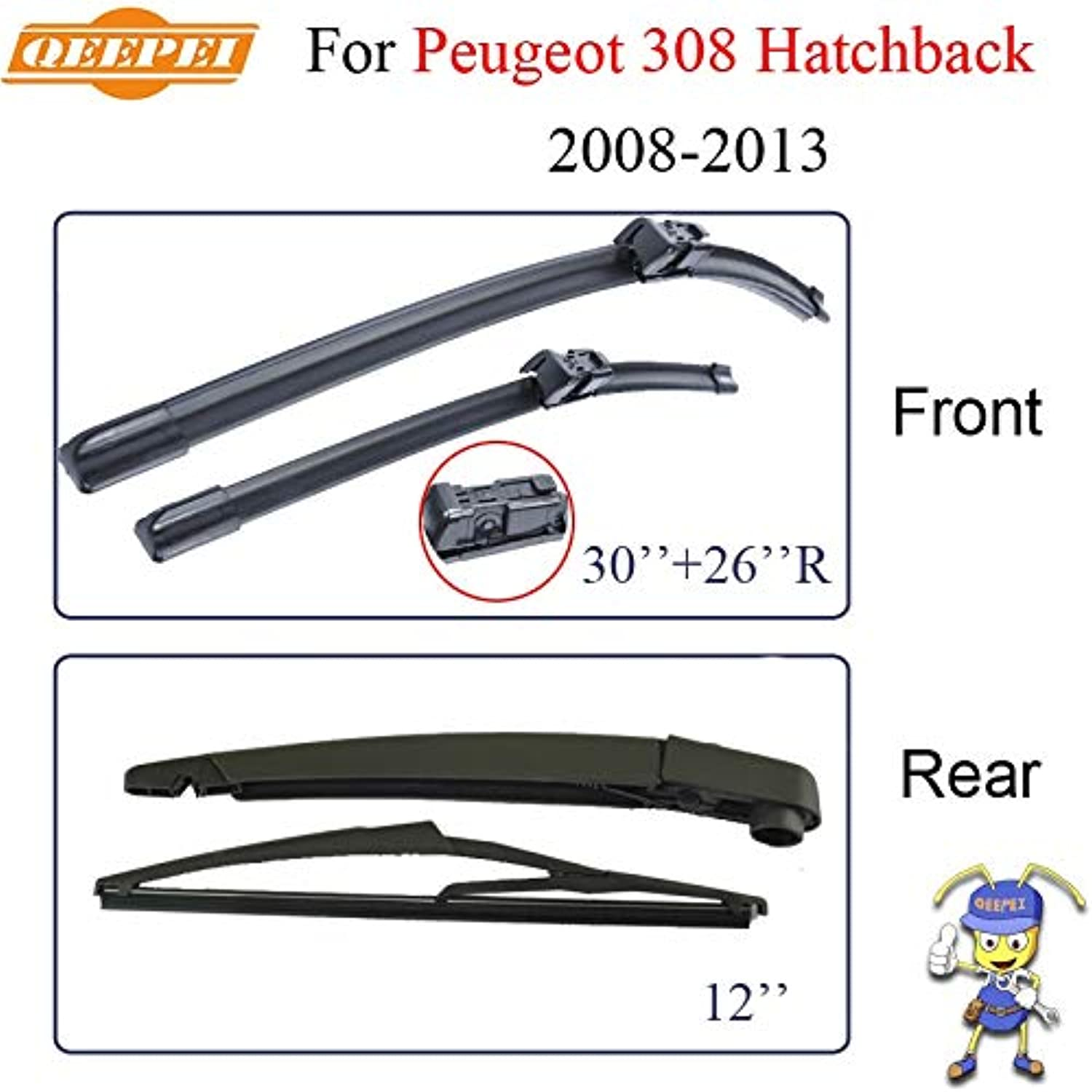Wipers Wiper Blades for Peugeot 308 Hatchback 20082013 Nature Rubber Windscreen Car Brush Accessories Auto Parts Cpc11804