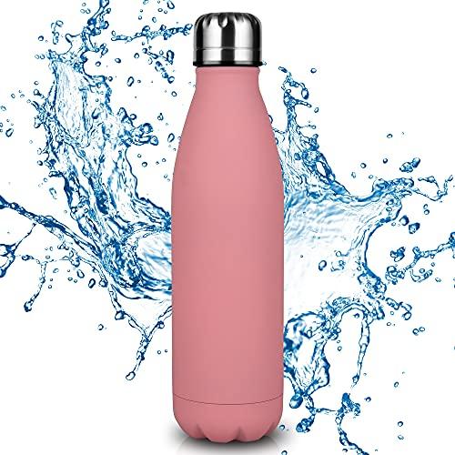 Botella de Agua Acero Inoxidable-500ml/750ml,Aislada al Vacío de Conserva Frío Doble Pared,sin BPA Botella Agua Deporte Puede recibir una botella de agua azul de 500 ml o una botella de agua rosa