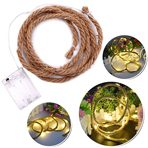 LEDMOMO LED Hanfseil Vintage Fairy String Lichter Batterie betrieben für Garten Party Indoor Outdoor Licht Lampe (warmweiß) 1.9 MT