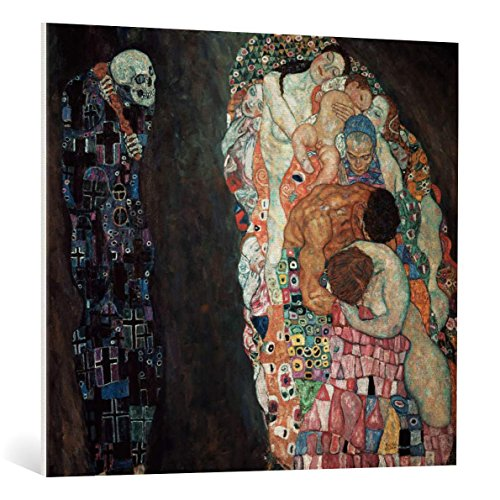 kunst für alle Leinwandbild: Gustav Klimt Tod und Leben - hochwertiger Druck, Leinwand auf Keilrahmen, Bild fertig zum Aufhängen, 100x90 cm