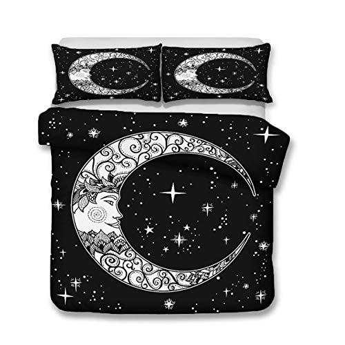 QWAS Juego de ropa de cama con diseño de sol y lunas, 3 piezas, para cama individual, doble, king (A2, 135 x 200 cm + 80 x 80 cm x 2)