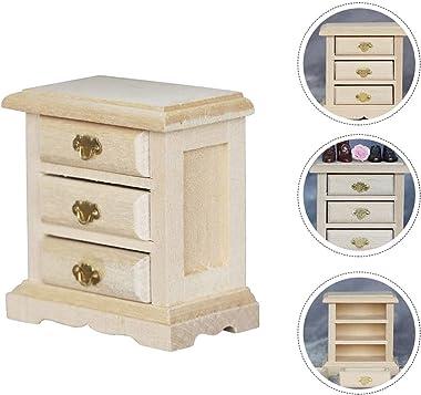 HEALLILY Dollhouse Table De Nuit Mini Maison en Bois Armoire Chambre Scène Modèle Bricolage Maison de Poupée Accessoire Jouet