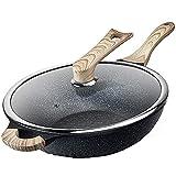 QZH Cacerola Cacerolas Olla de Cocina Maifan Stone Wok Wok Antiadherente Sartén de Cocina Wok multifunción Cocina de inducción doméstica Estufa de Gas Wok (32x32x9.5cm)