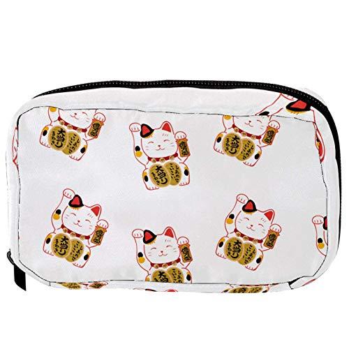 LORVIES - Bolsa de maquillaje japonesa con diseño de gato de Lucky Cats Kitty sobre fondo blanco
