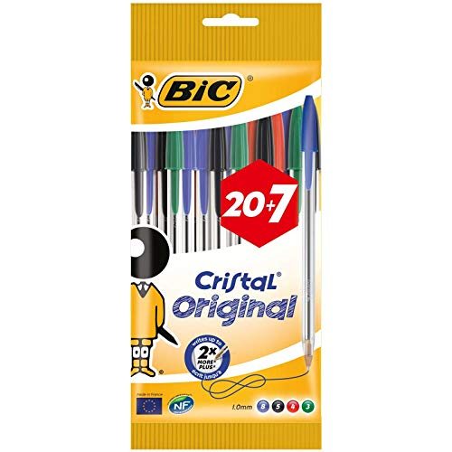 BIC Cristal Original Bolígrafos Punta Media (1,0 mm) – Colores Surtidos, Blíster de 20+7, para escritura suave, certificados con etiqueta ecológica
