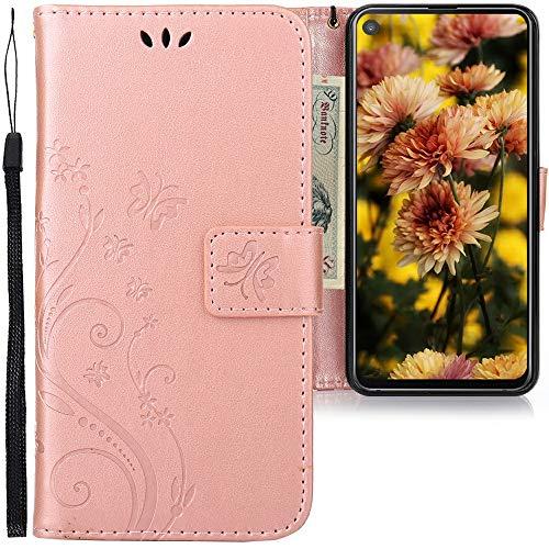 CLM-Tech Hülle kompatibel mit Samsung Galaxy A8s - Tasche aus Kunstleder - Klapphülle mit Ständer & Kartenfächern, Schmetterlinge Rosegold
