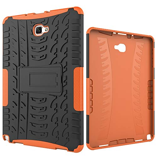 Tablet Protective Case Tablet Cover for Samsung Galaxy Tab A 2016 10.1/P585/P580 Tire Texture Shockproof TPU+PC Protective Case with Folding Handle Stand (Color : Orange)